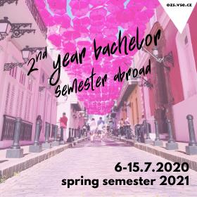 Přihlášky na semestrální výměnné pobyty v zahraničí v LS 2021 pro studenty 2. ročníků Bc. studia