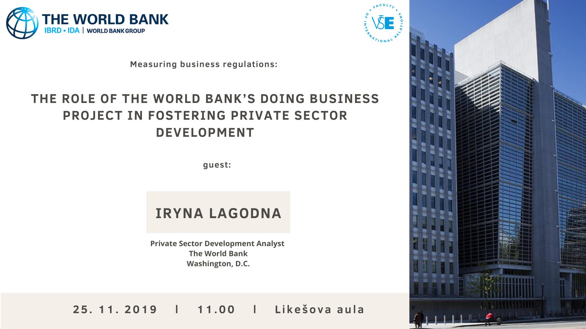 Na FMV bude přednášet analytička Světové banky /25.11./